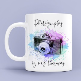 "Чаша за фотограф с надпис ""Photography is my therapy"""